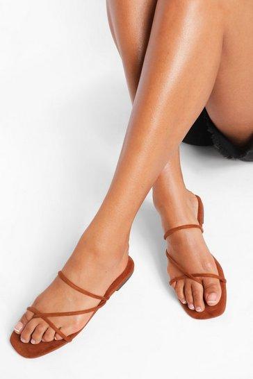 Tan brown Skinny Strap Mule
