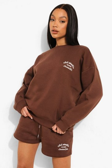 Chocolate brown Oversized Ofcl Studio Short Tracksuit
