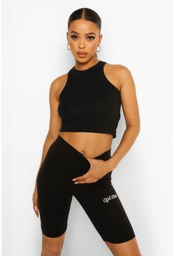 Black Official Embroidered High Waist Cycling Short