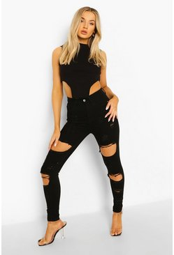 Black High Waist Distressed Skinny Jeans