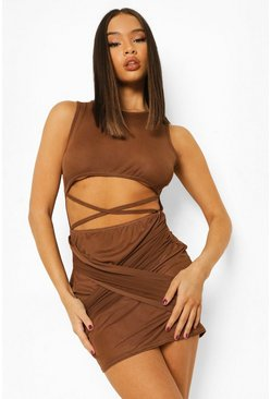 Chocolate brown Mesh Cut Out Racer Mesh Mini Dress