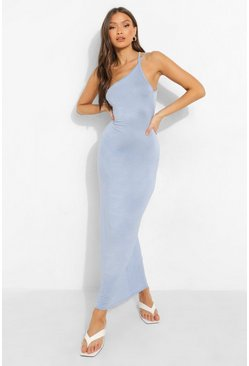 Powder blue blue Double Strap Low Back Maxi Dress