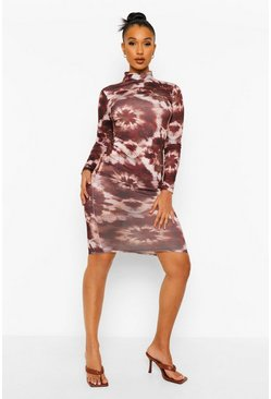 Tonal Print Backless Midi Dress, Brown marron