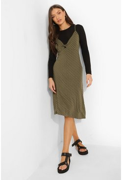 Khaki Polka Dot Midi Slip Dress With T Shirt