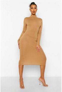 Camel beige High Neck Backless Midi Dress