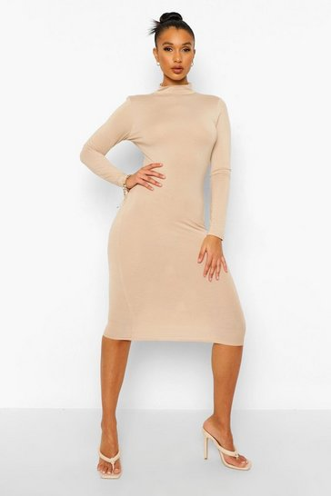 Stone beige High Neck Backless Midi Dress