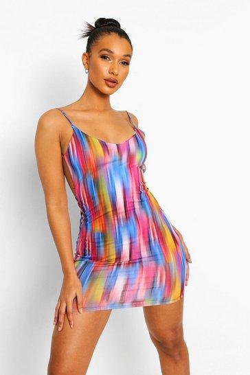 Multi Abstract Print Backless Detail Mini Dress