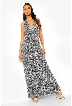 Black Ditsy Floral Halterneck Maxi Dress