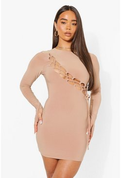 Beige Lace Up Long Sleeve Mini Dress