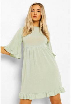 Sage green Flared Sleeve Frill Detail Smock Dress