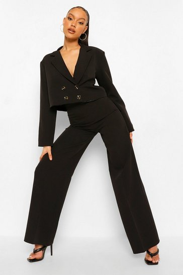 Black Relaxed Fit Tailored Wide Leg Trousers