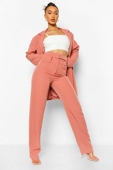 Desert rose pink Oversized Double Waistband Trousers