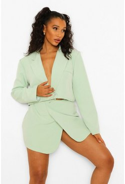 Mint green Wrap Front Mini Skirt