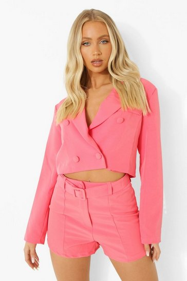 Candy pink pink Cropped Double Breasted Blazer