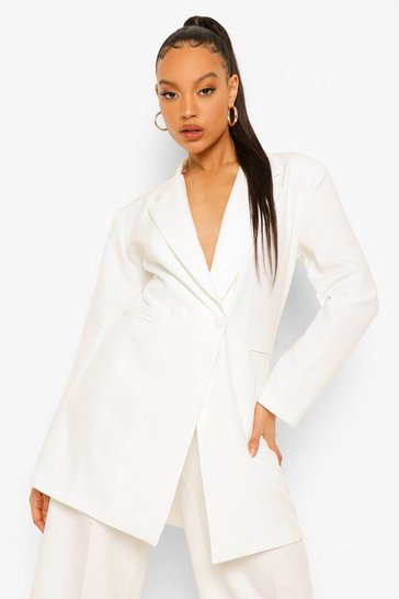 Ivory white Oversized Long Line Blazer