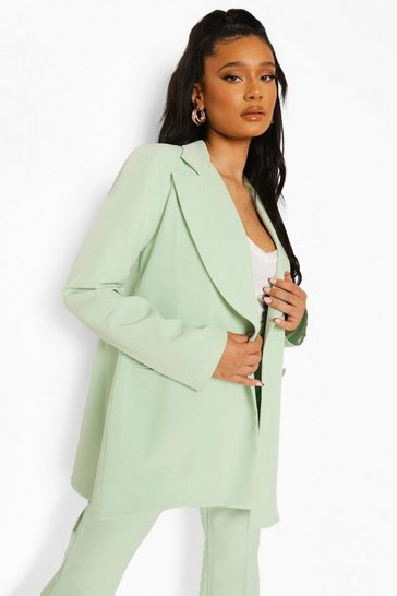 Mint green Open Back Tailored Blazer