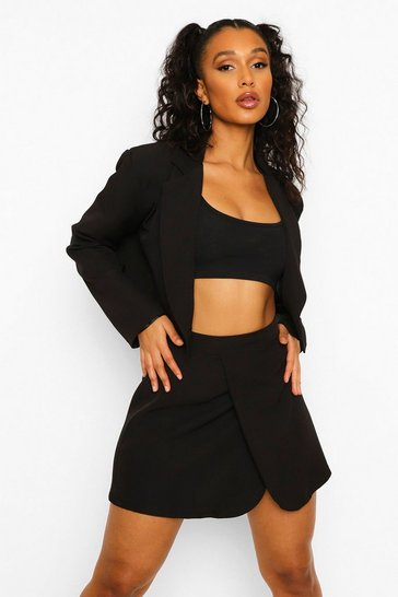 Black Wrap Front Tailored Cropped Blazer