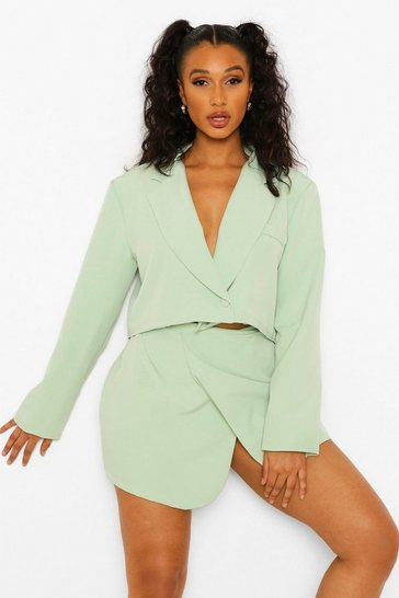 Mint green Wrap Front Tailored Cropped Blazer