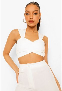 Ivory white Ruched Front Bralette