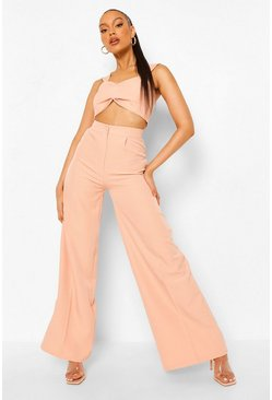 Peach orange Pleat Front Wide Leg Trousers