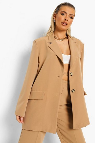 Camel beige Oversized Relaxed Fit Blazer