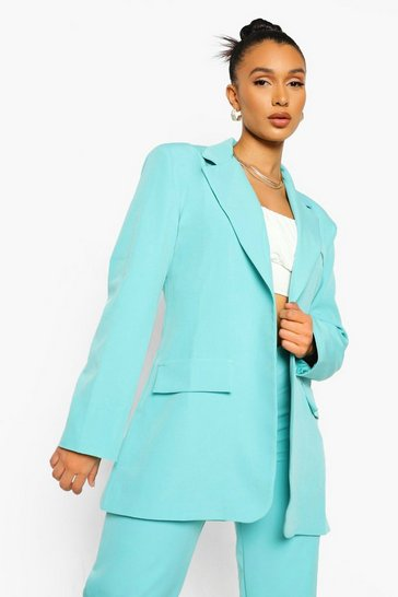 Turquoise blue Oversized Tailored Blazer