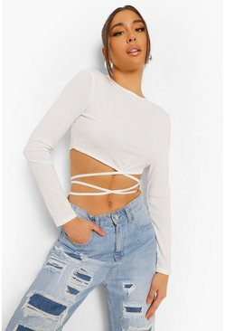 Ivory vit Ribbad långärmad crop top med cut-out