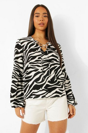 Black Woven Animal Print Blouse