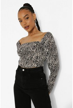 Black Woven Animal Print Square Neck Top