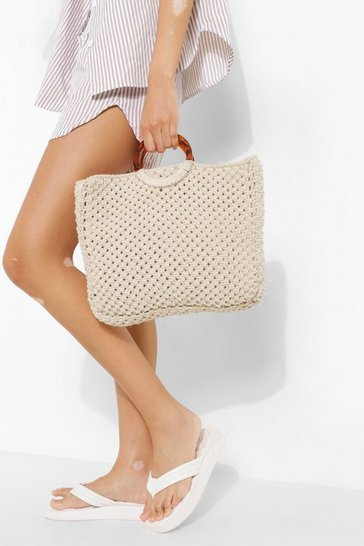 Natural beige Resin Top Handle Bag