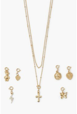 Gold metallic Mix N Match Charm Necklace Set