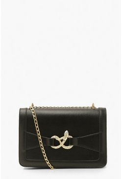 Black Snake Knot Front Detail Cross Body Bag