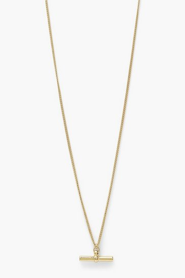 Gold metallic T Bar Simple Single Necklace