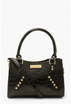 Black Croc Stud Detail Cross Body Bag