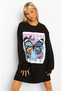 Black Tall Butterfly Oversize Sweat Dress