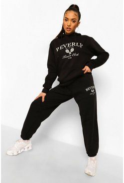Black Petite Beverly Hills Tennis Print Tracksuit