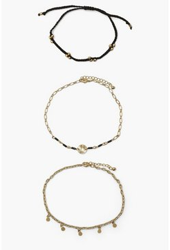 Woven Black Anklet 3 Pack , Gold metallic