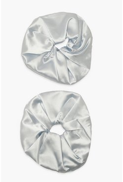 Blue blå Pastel Satin Oversized Scrunchie 2 Pack