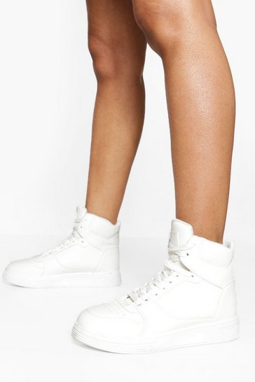 White High Top Contrast Panel Trainers