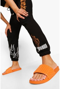 Orange Gewatteerde Diagonale Slippers Met Stiksels
