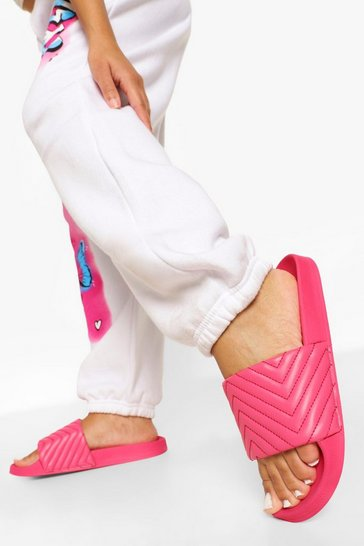 Pink Diagonal Quilted Slider