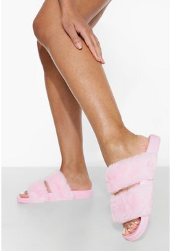 Pink Double Strap Fluffy Sliders