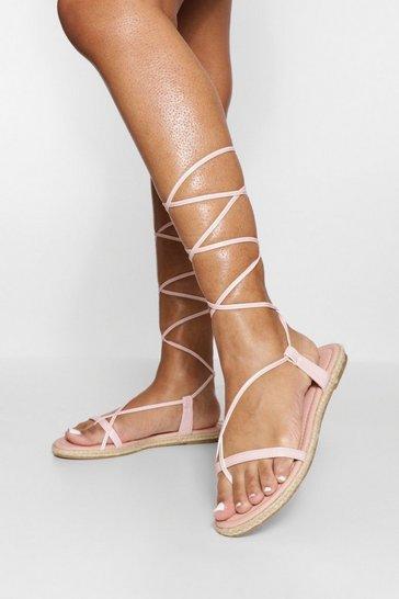 Pink Strappy Espadrille Wrap Up Sandal