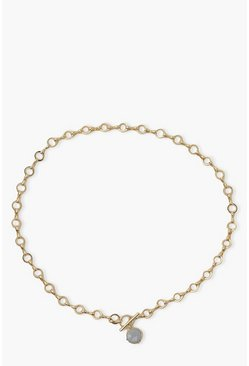 Gold metallic Misty Blue Stone Chunky Chain Necklace
