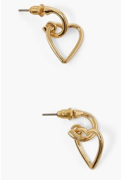 Gold metallic Heart Link Charm Hoop Earrings