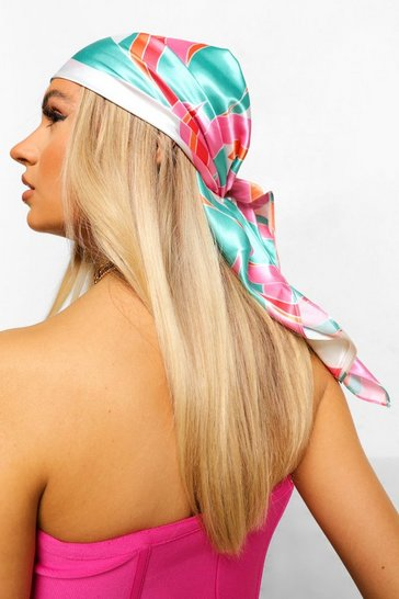 Multi Bright Swirl Print Large Satin Head Scarf
