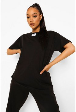 Black Woman Label Detail Oversized T-shirt
