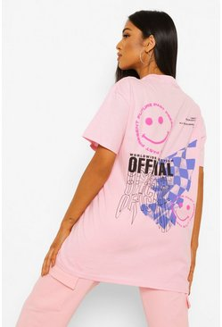 Pale pink pink Petite Official Smile Back Print T-shirt