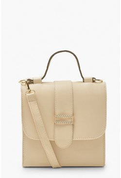 Cream white Cross Body Top Handle Mini Tote