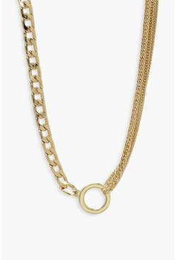 Gold metallic Chunky Chain Front Clasp And Disc Necklace